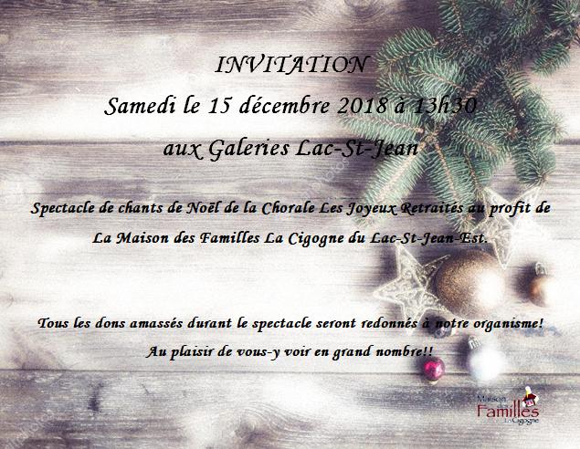 Invitation Spectacle de chants de Noël
