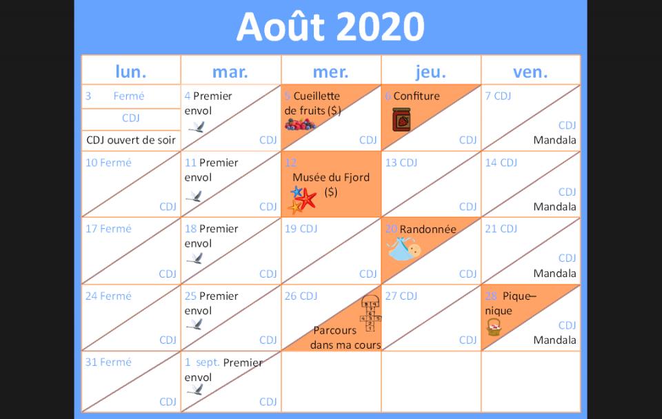 Horaire d'activités - Août 2020