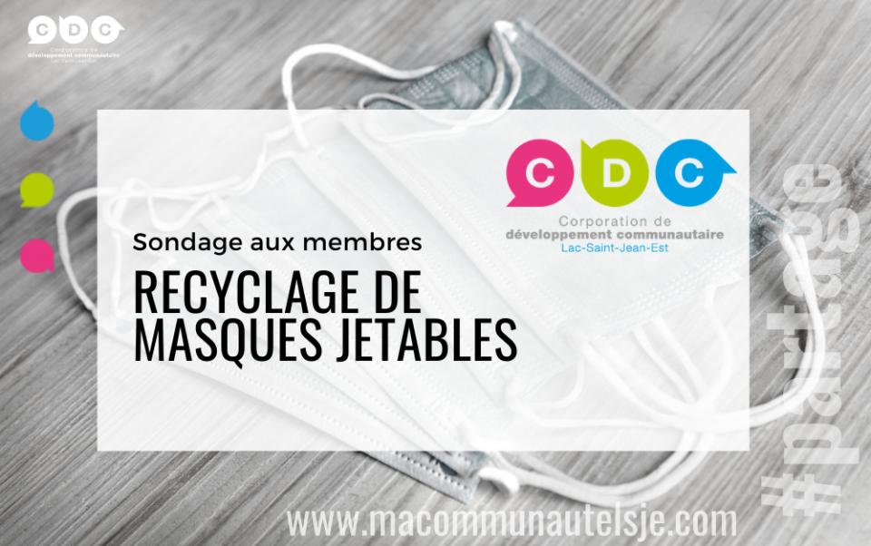 Sondage aux membres : recyclage de masques jetables